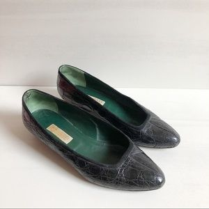 Gucci Alligator Leather Pointed Toe Flats